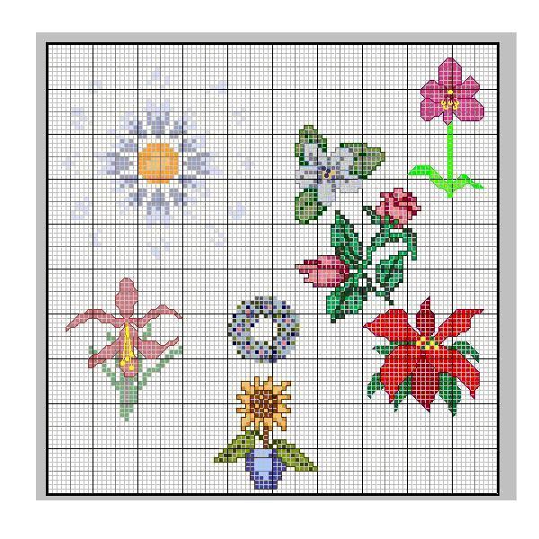 Schemi punto croce fiori misti for Schemi gratis a punto croce