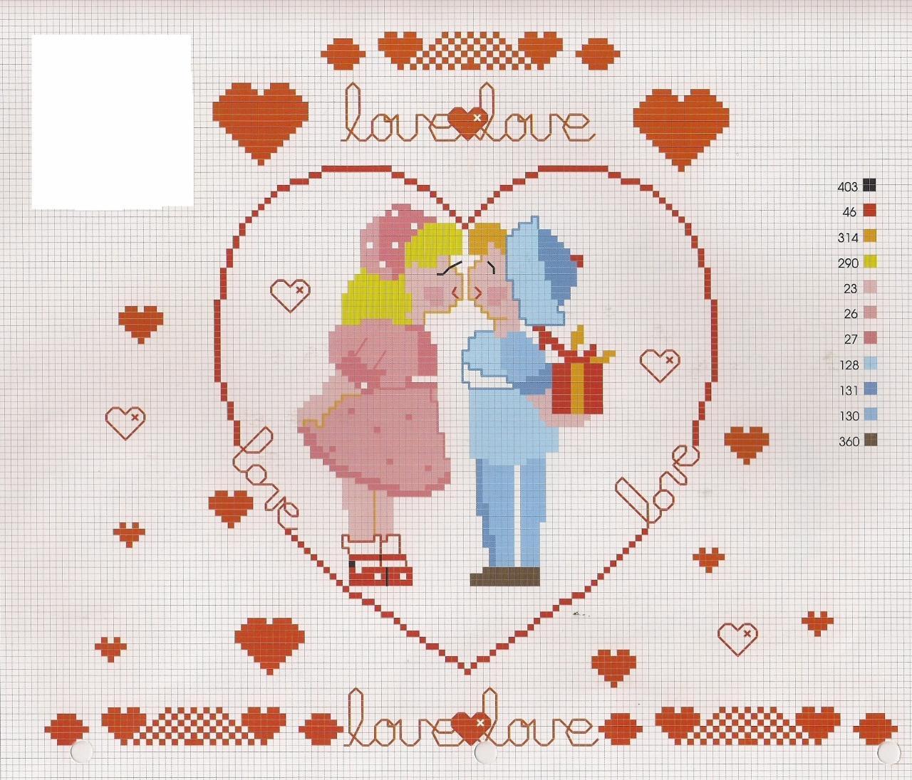 Amore schema punto croce for Idee per punto croce