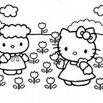 disegni da colorare hello kitty fiori da colorare