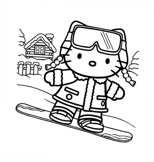 Disegni da colorare hello kitty sci for Hello kitty christmas coloring pages