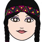 maschera di carnevale da ritagliare indiana colorato