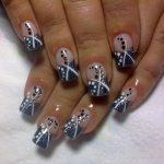 nail art glitter grigio